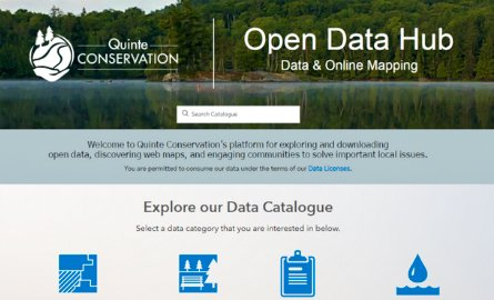 Screen shot of the home page for Quinte Conservation's Open Data Hub