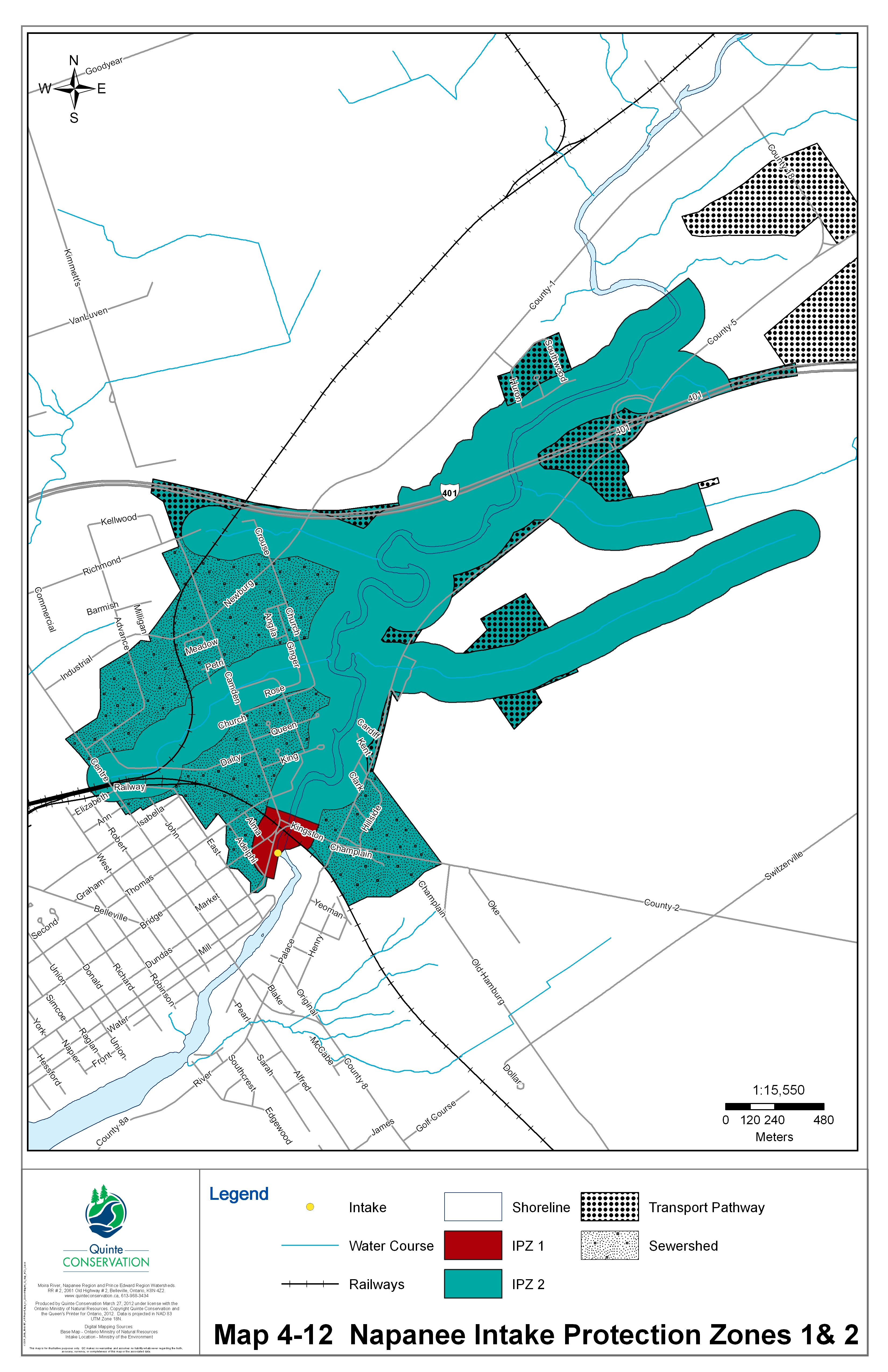 Drinking water systems map for Napanee